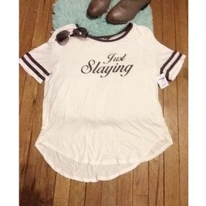 Charlotte Russe Just Slaying Jersey Tee NWT